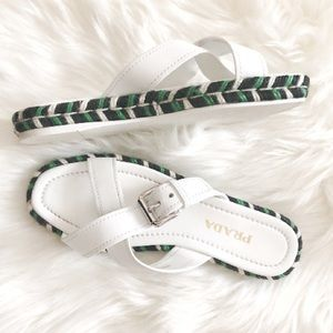 Prada Crisscross Buckle Espadrille Slide Sandals